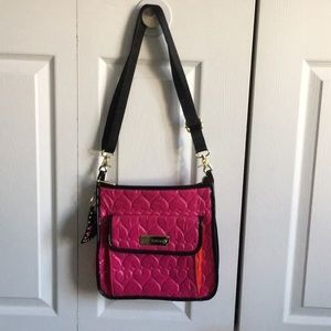 Betsey Johnson Pink Quilted Hearts Crossbody Bag